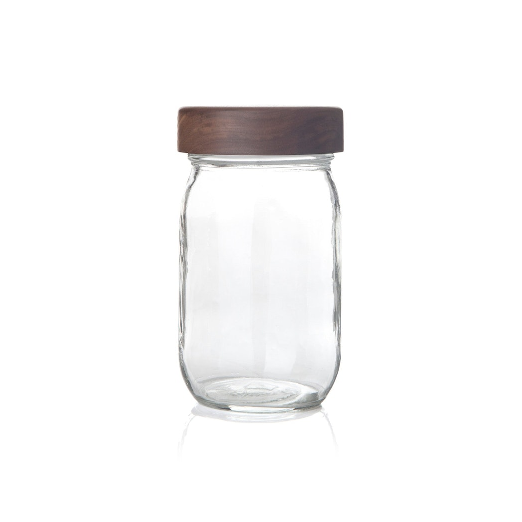 Mason Jar with Walnut Lid