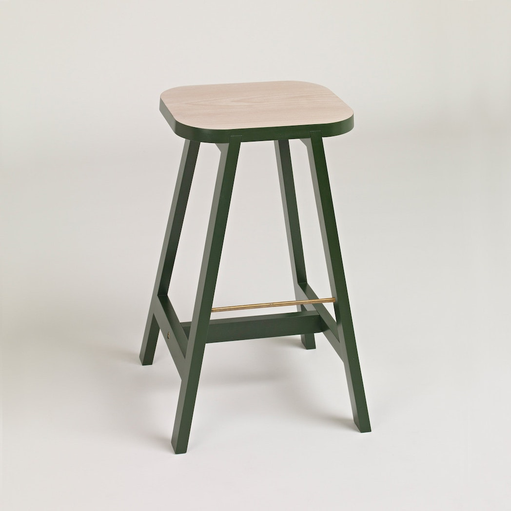 Bar Stool Three Beech, Oxford Green