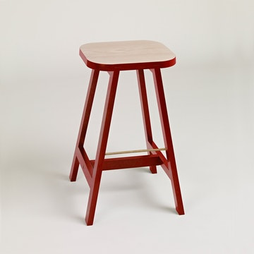 Bar Stool Three Beech, Wellington Red