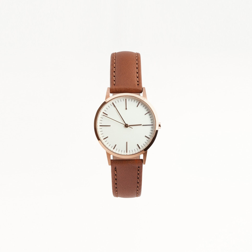 Rose Gold & Tan Watch, Small