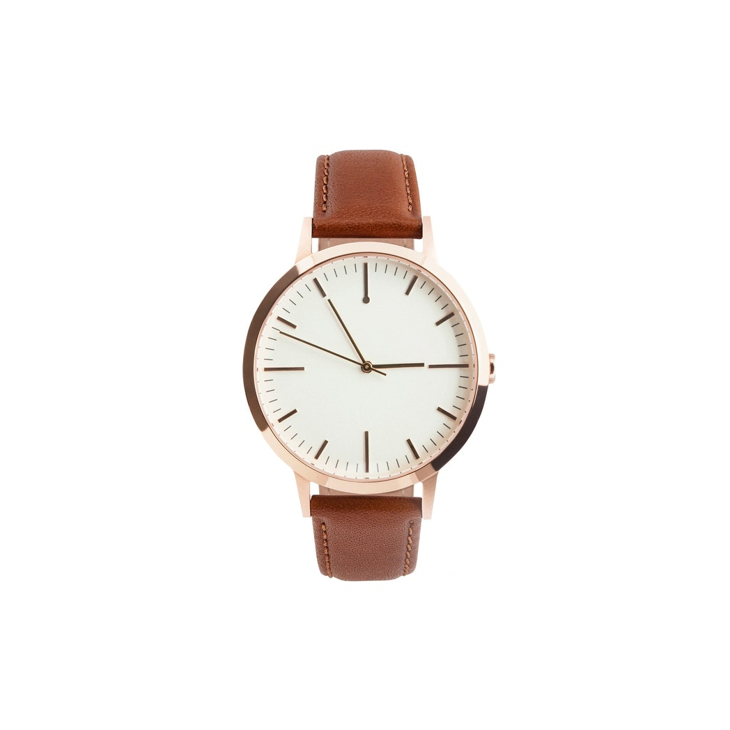 Rose Gold & Tan Watch, Large